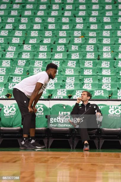 Jaylen Brown and Brad Stevens of the Boston Celtics talk before Game Five of the Eastern Conference Semifinals against the Washington Wizards during...