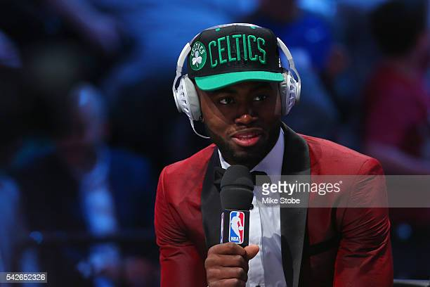 Jaylen Brown is interviewed after being drafted third overall by the Boston Celtics in the first round of the 2016 NBA Draft at the Barclays Center...
