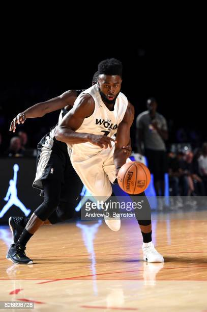 Jaylen Brown of Team World drives to the basket against Team Africa in the 2017 Africa Game as part of the Basketball Without Borders Africa at the...