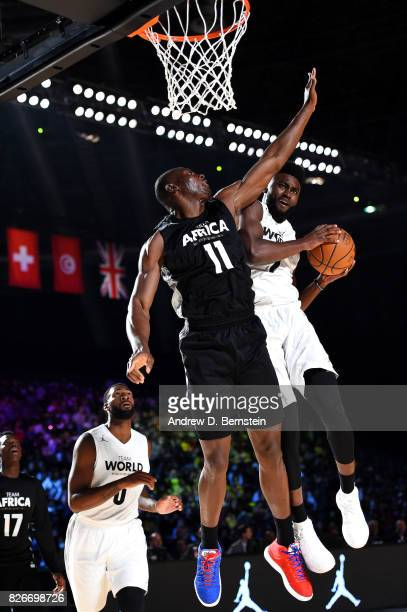 Jaylen Brown of Team World goes for a lay up against Team Africa in the 2017 Africa Game as part of the Basketball Without Borders Africa at the...