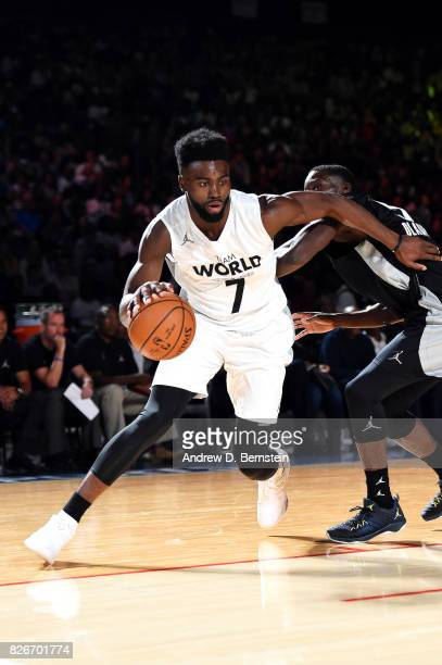 Jaylen Brown of Team World handles the ball against Team Africa in the 2017 Africa Game as part of the Basketball Without Borders Africa at the...