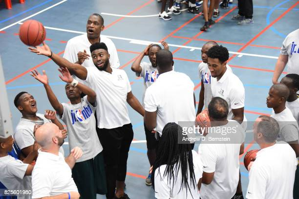 Jaylen Brown of Team World takes part in the Jr NBA Special Olympics clinic as part of Basketball Without Borders Africa at the American...