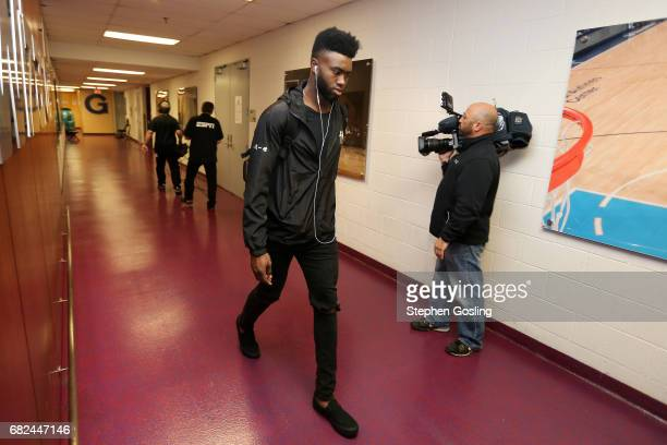 Jaylen Brown of the Boston Celtics arrives to the arena before the game against the Washington Wizards during Game Six of the Eastern Conference...