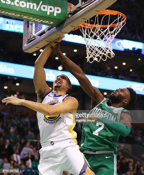 Jaylen Brown of the Boston Celtics blocks a shot from Klay Thompson of the Golden State Warriors during the second quarter at TD Garden on November...
