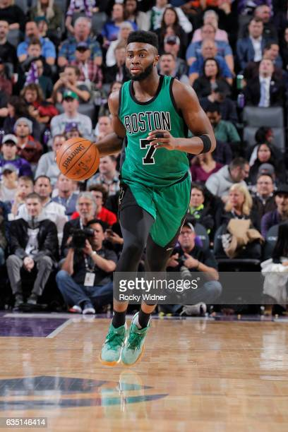 Jaylen Brown of the Boston Celtics brings the ball up the court against the Sacramento Kings on February 8 2017 at Golden 1 Center in Sacramento...