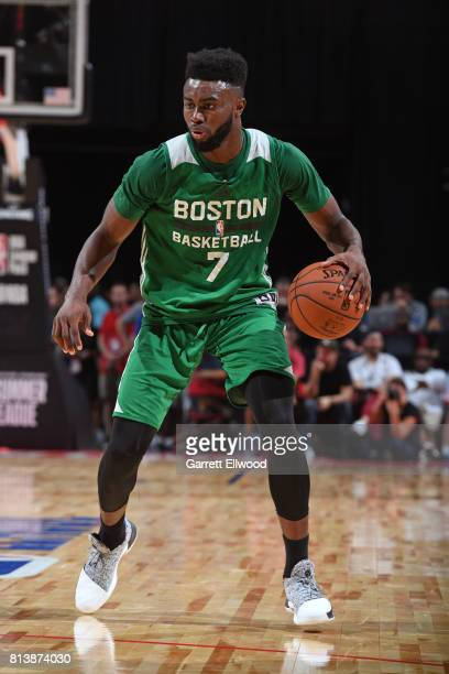 Jaylen Brown of the Boston Celtics dribbles against the Los Angeles Lakers during the 2017 Las Vegas Summer League on July 8 2017 at the Thomas Mack...
