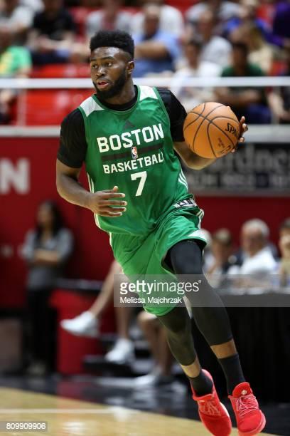 Jaylen Brown of the Boston Celtics dribbles against the Philadelphia 76ers on July 3 2017 at Jon M Huntsman Center in Salt Lake City Utah NOTE TO...