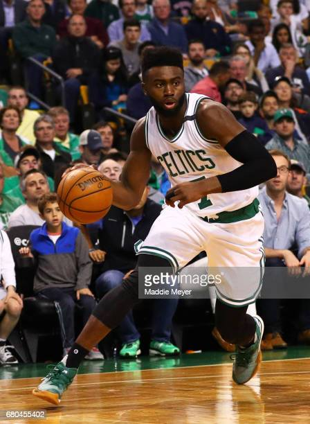 Jaylen Brown of the Boston Celtics dribbles against the Washington Wizards during the fourth quarter of Game One of the Eastern Conference Semifinals...