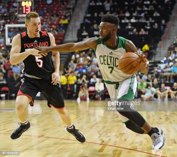 Jaylen Brown of the Boston Celtics drives against Pat Connaughton of the Portland Trail Blazers during the 2017 Summer League at the Thomas Mack...