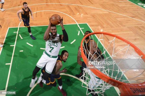 Jaylen Brown of the Boston Celtics drives to the basket against the Cleveland Cavaliers in Game Five of the Eastern Conference Finals of the 2017 NBA...