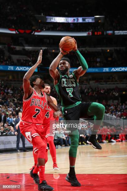 Jaylen Brown of the Boston Celtics drives to the basket against the Chicago Bulls on December 11 2017 at the United Center in Chicago Illinois NOTE...