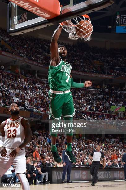 Jaylen Brown of the Boston Celtics dunks against the Cleveland Cavaliers on October 17 2017 at Quicken Loans Arena in Cleveland Ohio NOTE TO USER...