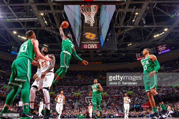 Jaylen Brown of the Boston Celtics dunks the ball against the Cleveland Cavaliers on October 17 2017 at Quicken Loans Arena in Cleveland Ohio NOTE TO...