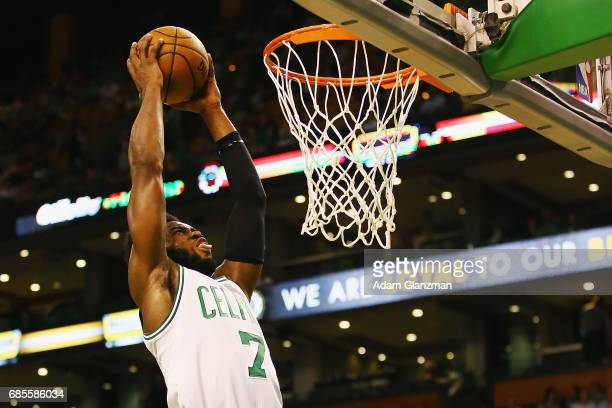 Jaylen Brown of the Boston Celtics dunks the ball in the second half against the Cleveland Cavaliers during Game Two of the 2017 NBA Eastern...