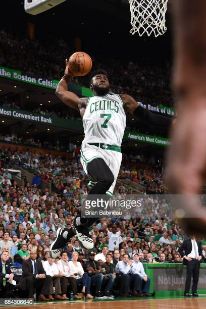 Jaylen Brown of the Boston Celtics goes for a dunk during the game against the Cleveland Cavaliers during Game One of the Eastern Conference Finals...