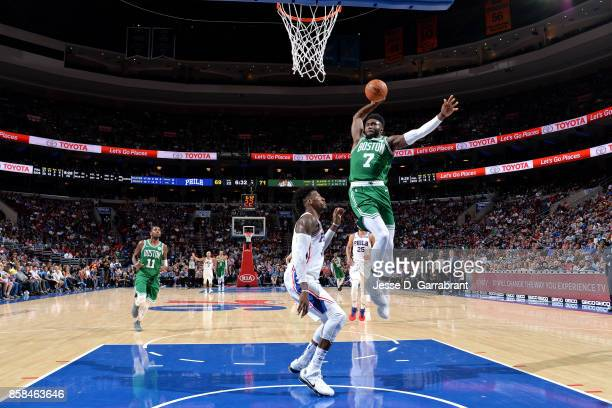 Jaylen Brown of the Boston Celtics goes for a dunk during the game against the Philadelphia 76ers during a preseason on October 6 2017 at Wells Fargo...