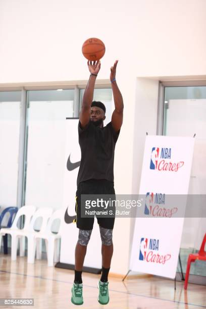 Jaylen Brown of the Boston Celtics goes through a work out during the Basketball Without Borders Africa program at the American International School...
