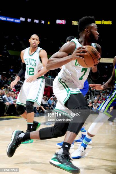 Jaylen Brown of the Boston Celtics goes to the basket against the Atlanta Hawks on April 6 2017 at Philips Arena in Atlanta Georgia NOTE TO USER User...