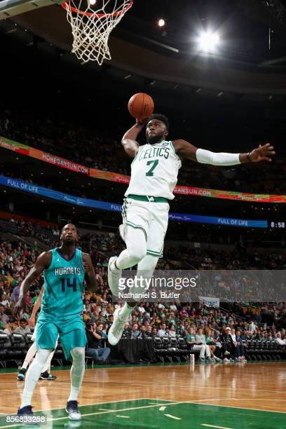 Jaylen Brown of the Boston Celtics goes to the basket against the Charlotte Hornets on October 2 2017 at the TD Garden in Boston Massachusetts NOTE...