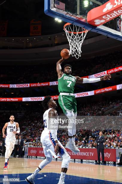Jaylen Brown of the Boston Celtics goes to the basket against the Philadelphia 76ers on October 6 2017 in Philadelphia Pennsylvania at the Wells...