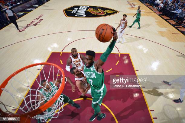 Jaylen Brown of the Boston Celtics goes to the basket against the Cleveland Cavaliers on October 17 2017 at Quicken Loans Arena in Cleveland Ohio...