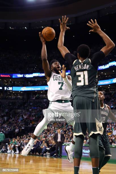 Jaylen Brown of the Boston Celtics goes to the basket against the Milwaukee Bucks on October 18 2017 at the TD Garden in Boston Massachusetts NOTE TO...