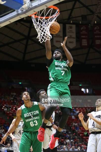 Jaylen Brown of the Boston Celtics goes to the basket against the San Antonio Spurs on July 5 2017 at Jon M Huntsman Center in Salt Lake City Utah...