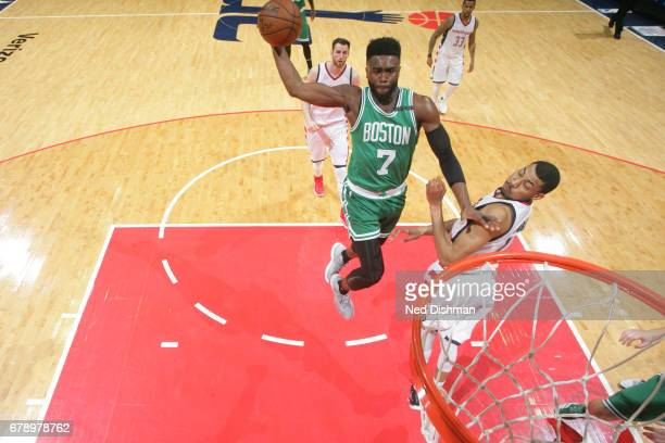 Jaylen Brown of the Boston Celtics goes up for a dunk against the Washington Wizards in Game Three of the Eastern Conference Semifinals of the 2017...