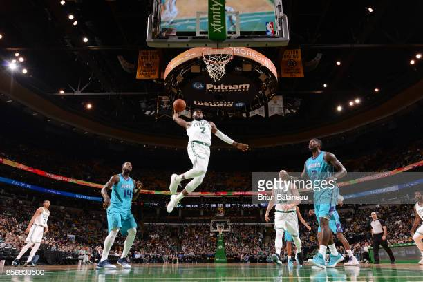 Jaylen Brown of the Boston Celtics goes up for a dunk against the Charlotte Hornets during a preseason game on October 2 2017 at the TD Garden in...