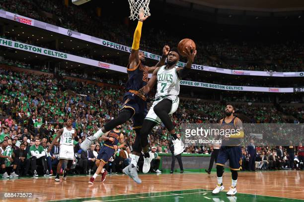 Jaylen Brown of the Boston Celtics goes up for a lay up against the Cleveland Cavaliers in Game Five of the Eastern Conference Finals of the 2017 NBA...