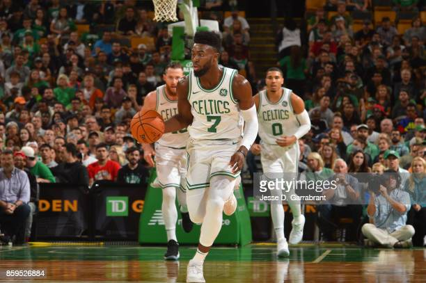 Jaylen Brown of the Boston Celtics handles the ball against the Philadelphia 76ers during a preseason game on October 9 2017 at TD Garden in Boston...