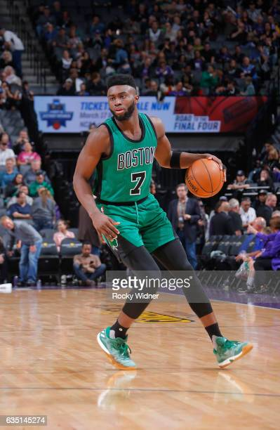 Jaylen Brown of the Boston Celtics handles the ball against the Sacramento Kings on February 8 2017 at Golden 1 Center in Sacramento California NOTE...