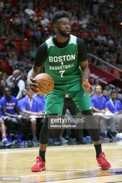 Jaylen Brown of the Boston Celtics handles the ball against the Philadelphia 76ers on July 3 2017 at Jon M Huntsman Center in Salt Lake City Utah...