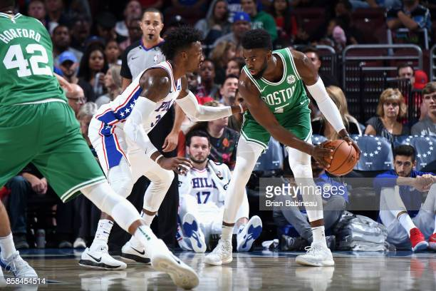 Jaylen Brown of the Boston Celtics handles the ball against the Philadelphia 76ers on October 6 2017 in Philadelphia Pennsylvania at the Wells Fargo...