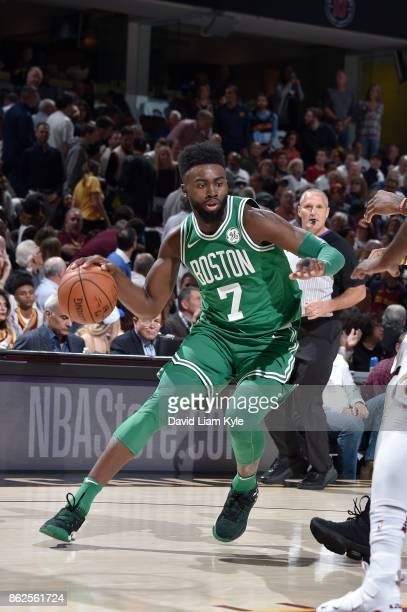 Jaylen Brown of the Boston Celtics handles the ball against the Cleveland Cavaliers on October 17 2017 at Quicken Loans Arena in Cleveland Ohio NOTE...