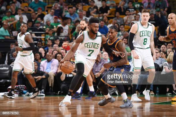 Jaylen Brown of the Boston Celtics handles the ball against the Cleveland Cavaliers during Game Two of the Eastern Conference Finals of the 2017 NBA...