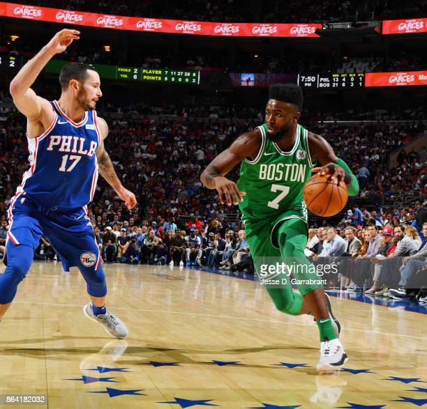 Jaylen Brown of the Boston Celtics handles the ball against the Philadelphia 76ers during the game on October 20 2017 at Wells Fargo Center in...