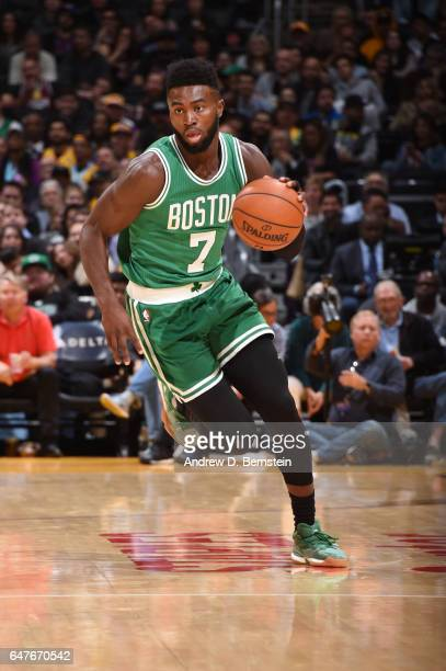Jaylen Brown of the Boston Celtics handles the ball during a game against the Los Angeles Lakers on March 3 2017 at STAPLES Center in Los Angeles...
