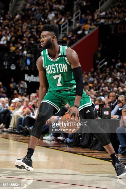 Jaylen Brown of the Boston Celtics handles the ball during the game against the Cleveland Cavaliers in Game Four of the Eastern Conference Finals of...