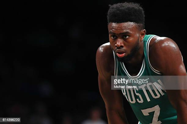 Jaylen Brown of the Boston Celtics in action in the second half of the preseason game against the Brooklyn Nets at Barclays Center on October 13 2016...