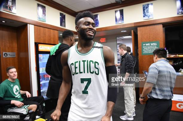 Jaylen Brown of the Boston Celtics looks on after the game against the Washington Wizards during Game Seven of the Eastern Conference Semifinals of...