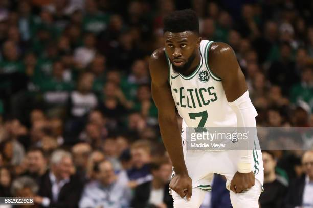 Jaylen Brown of the Boston Celtics looks on during the fourth quarter against the Milwaukee Bucks at TD Garden on October 18 2017 in Boston...