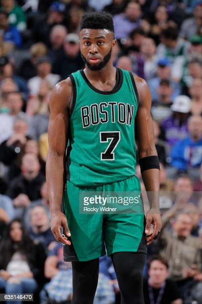 Jaylen Brown of the Boston Celtics looks on during the game against the Sacramento Kings on February 8 2017 at Golden 1 Center in Sacramento...