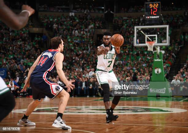 Jaylen Brown of the Boston Celtics passes the ball against the Washington Wizards during Game Five of the Eastern Conference Semifinals of the 2017...