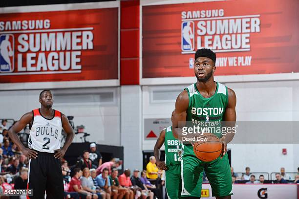 Jaylen Brown of the Boston Celtics shoots a free throw against the Chicago Bulls during the 2016 NBA Las Vegas Summer League game on July 9 2016 at...