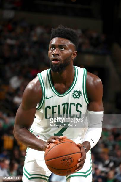 Jaylen Brown of the Boston Celtics shoots a free throw against the Charlotte Hornets on October 2 2017 at the TD Garden in Boston Massachusetts NOTE...