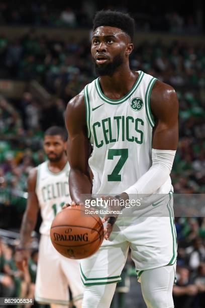 Jaylen Brown of the Boston Celtics shoots a free throw against the Milwaukee Bucks on October 18 2017 at the TD Garden in Boston Massachusetts NOTE...