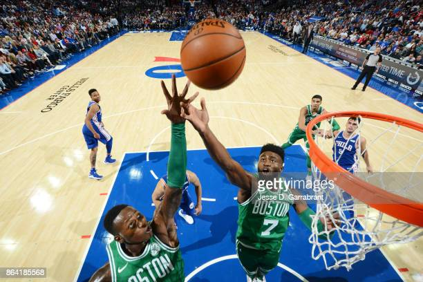 Jaylen Brown of the Boston Celtics shoots the ball against the Philadelphia 76ers during the game on October 20 2017 at Wells Fargo Center in...