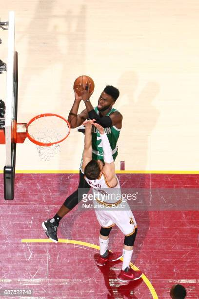Jaylen Brown of the Boston Celtics shoots the ball against the Cleveland Cavaliers in Game Four of the Eastern Conference Finals during the 2017 NBA...