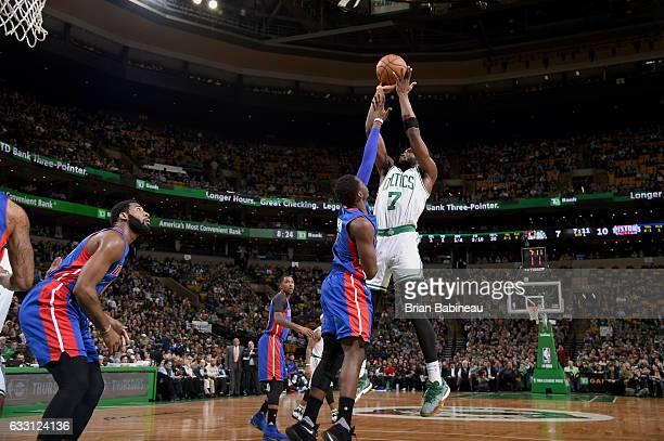 Jaylen Brown of the Boston Celtics shoots the ball against the Detroit Pistons on January 30 2017 at the TD Garden in Boston Massachusetts NOTE TO...
